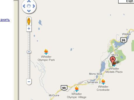 олимпийские объекты на карте Гугл - Google map